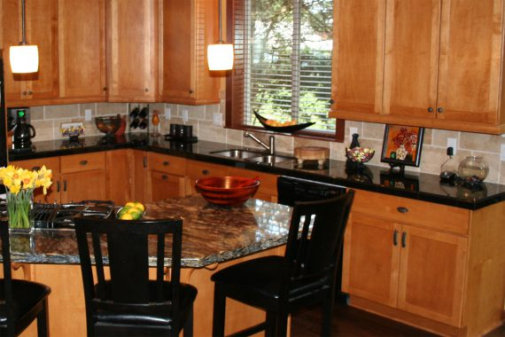 Custom kitchen design cherry cabinets granite counters
