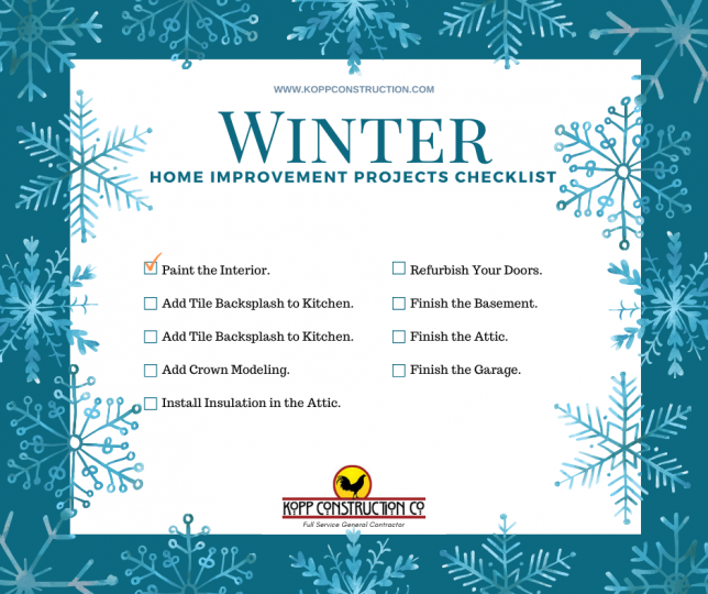 Winter home improvement project checklist Kopp Construction: General Contractor - Portland,OR AreaKopp Construction is a full service General Contractor. We are a Custom Home Builder offering new home construction, remodeling, additions, and more... Services services include Custom Home Construction, Design Work & Plans, Custom Remodeling, Repairs, Additions, Commercial Building, and more.. Business remodel of a Cafe with hardwood floor craftsman style with white trim and mint wall color