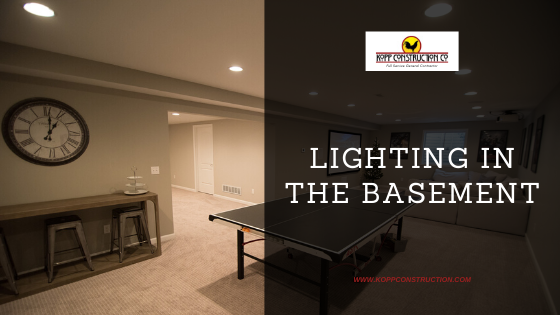 Lighting in the basement. Kopp Construction: General Contractor - Portland, OR Metro Area. We are a Custom Home Builder offering new home construction, remodeling, additions, and more. Services include Custom Home Construction, Design Work & Plans, Custom Remodeling, Repairs, Additions, Commercial Building, and more.