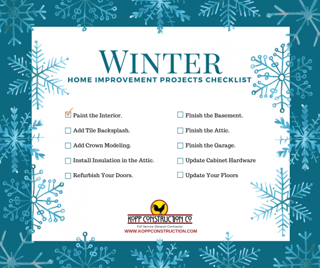 Winter project checklist Kopp Construction: General Contractor - Portland, OR Metro Area. We are a Custom Home Builder offering new home construction, remodeling, additions, and more. Services include Custom Home Construction, Design Work & Plans, Custom Remodeling, Repairs, Additions, Commercial Building, and more.
